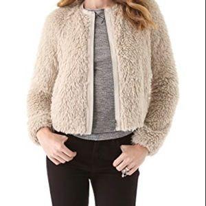 Rebecca Taylor Faux Fur Teddy Bear Bomber Jacket M